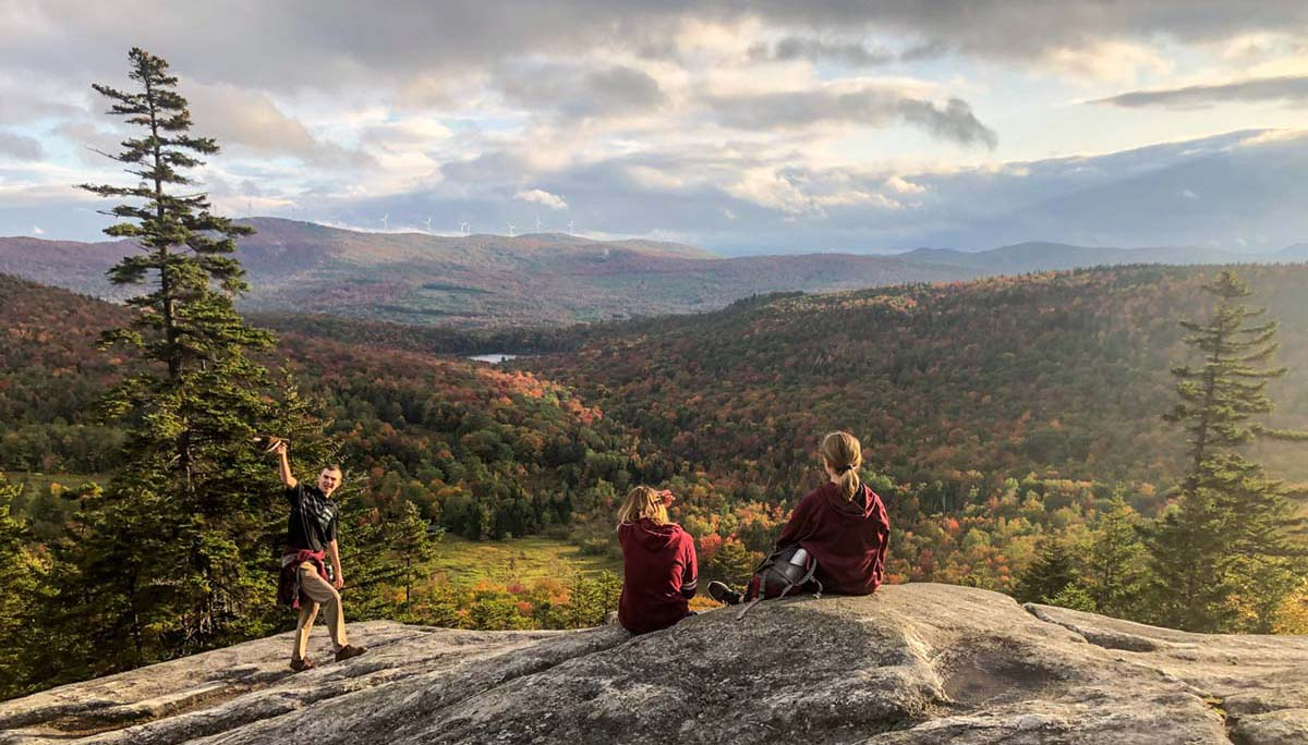 Scenic view of students on Mt. Wheeler in Sutton, VT.