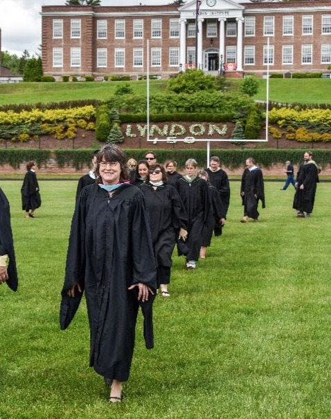 Head of School Twila Perry marching in procession during Commencement.